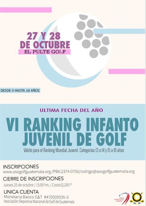 VI RANKING INFANTO JUVENIL DE GOLF